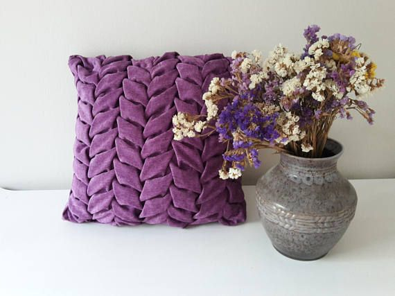 Purple Chenilles Pillow Decorative Pillow with Leaves