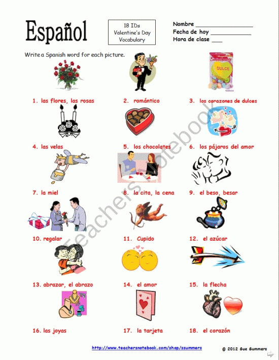 Spanish Valentines Day Vocabulary IDs - Dia de San Valentin product from Sue-Summers on TeachersNotebook.com