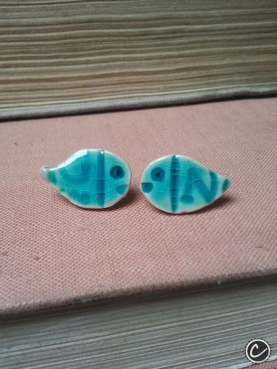 Small stud ceramic earrings  Nemo by CeramicsbyCaramel on Etsy, $7.00