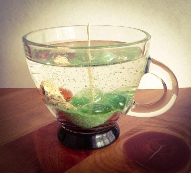 Candela di cera gel trasparente in tazza di vetro