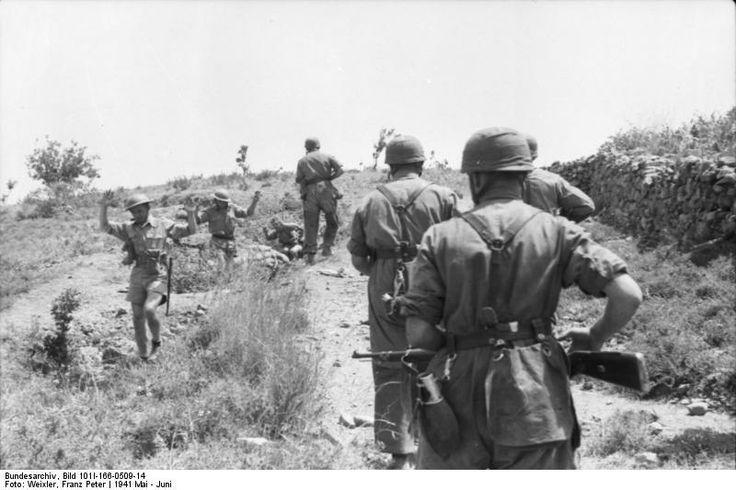 British soldiers surrendering to German paratroopers, Crete. c.1941