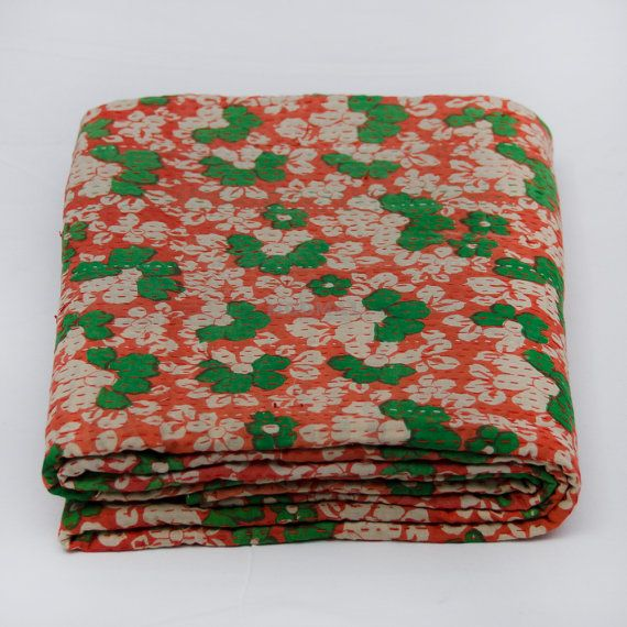 Vintage Kantha bedsheetHandmade Kantha quiltCotton by Moomal, $42.00