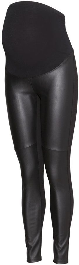 H&M - MAMA Leggings - Black/leather imitation - Ladies