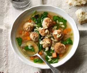Chicken meatball, spinach and risoni soup