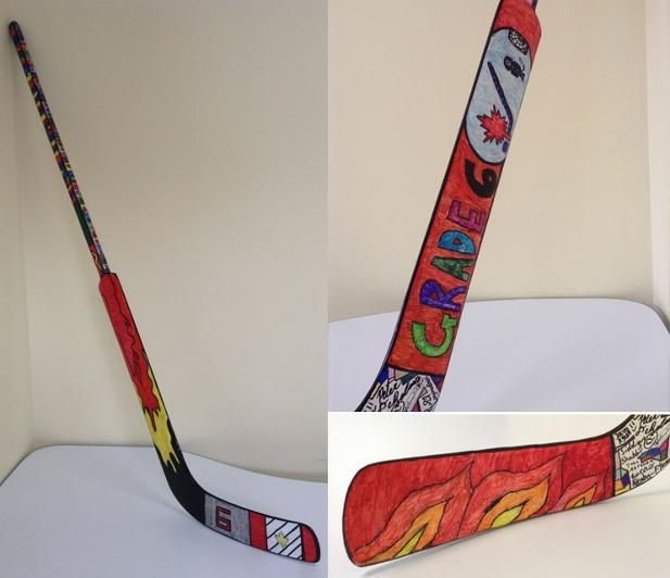 Grade 6 students collaborate on designing this hockey stick to be auctioned at their school's fundraiser