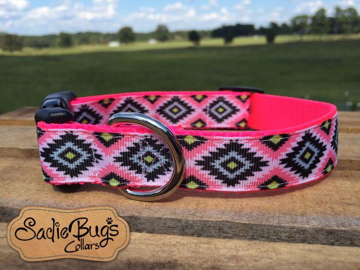 Pink Aztec Tribal dog collar - geometric