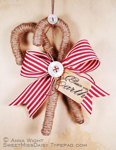 The *Original* Primitive Candy Cane Ornament, back for 2012!    by me, Anna Wight  :)