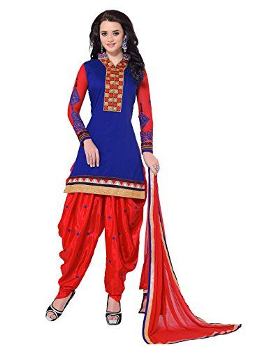 Khushali's Women`s Chanderi Straight Unstitched Patiala Salwar Suit dresss material - http://weddingcollections.co.in/product/khushalis-womens-chanderi-straight-unstitched-patiala-salwar-suit-dresss-material-blue/