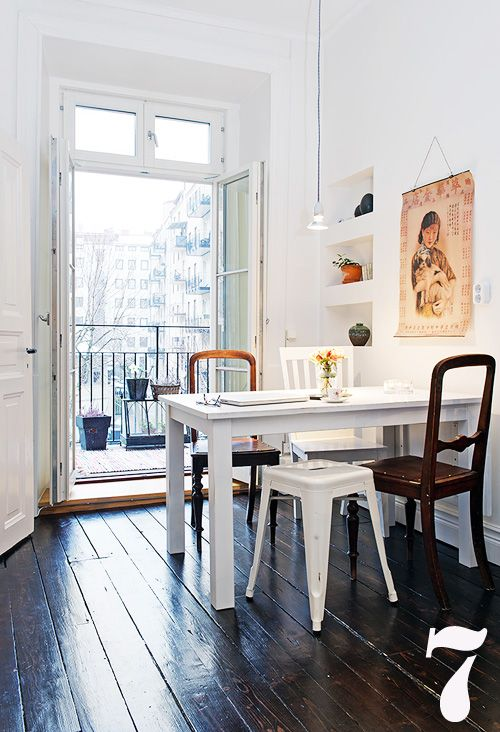 .: Dining Rooms, Dining Area, Mismatched Chairs, Floors, French Doors, Balconies, Kitchens Tables, Dining Spaces, White Wall