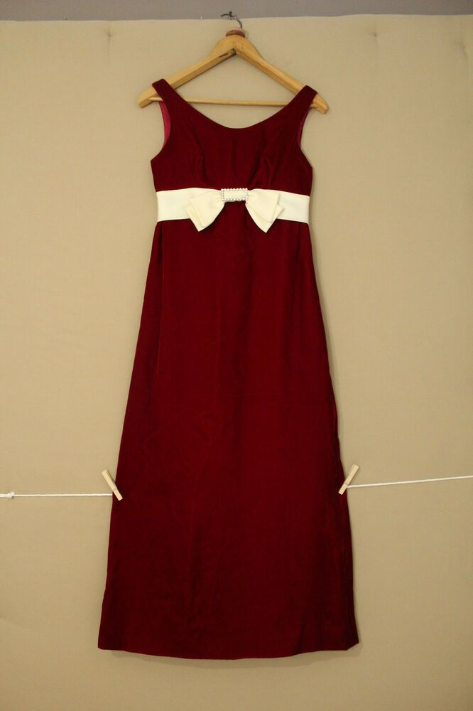 f5f1b941c5d VTG 60s Ruby Red VELVET Empire Waist Satin Rhinestone Bow MOD Party Dress  xs s  fashion  clothing  shoes  accessories  vintage  womensvintageclothing  (ebay ...