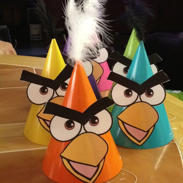 Angry bird party hats!