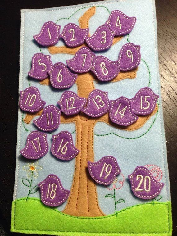 Bird in a tree counting, number felt game, Montessori, felt board, $15. Rosie K Embroidery