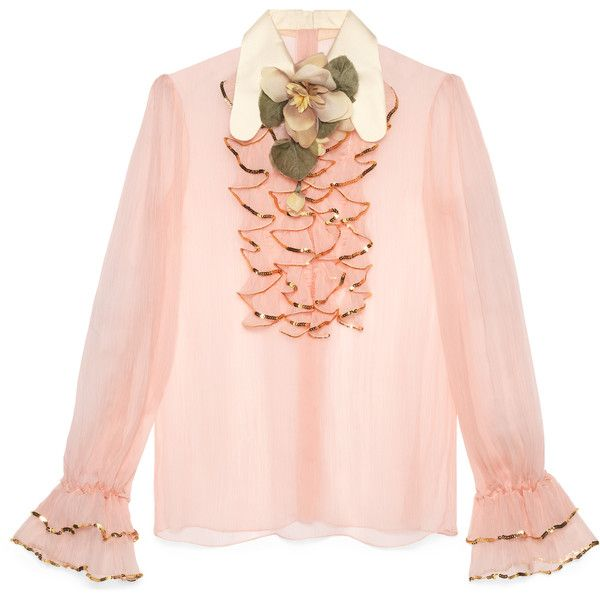 Gucci Silk Shirt With Sequin Embroidery ($1,715) ❤ liked on Polyvore featuring tops, ready-to-wear, tops & shirts, women, flower top, pink sequin top, embroidered shirts, pink rose tops and silk shirt