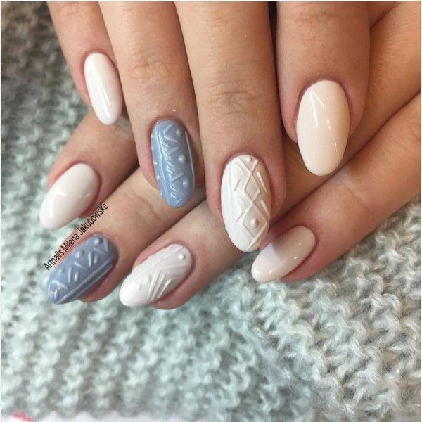 Simple cute 3D sweater nail design