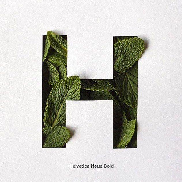 #H de hierbabuena y helvetica by @yerayvega7 by 36daysoftype