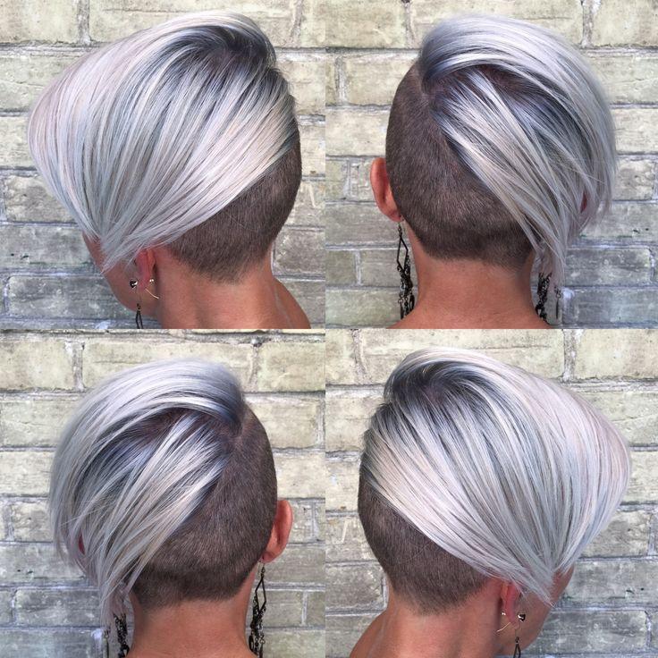 Cool, Crisp Blonde Undercut pixie. Platinum, rooted, silver