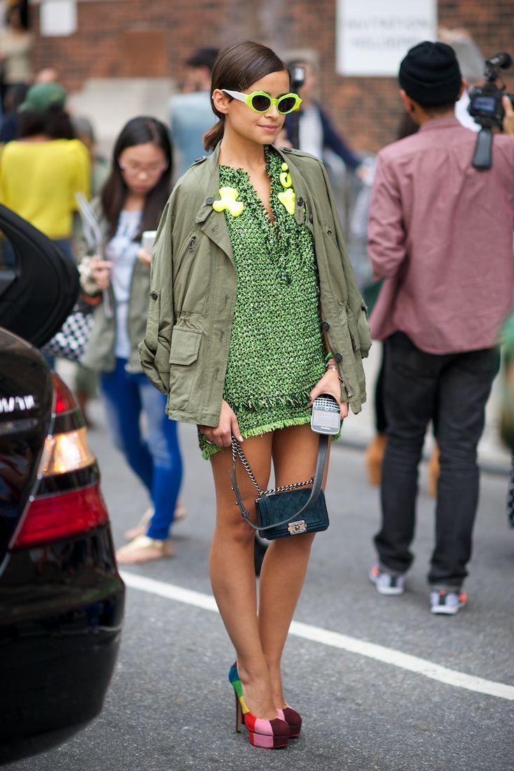 Miroslava sporting neon accents.Streetstyle