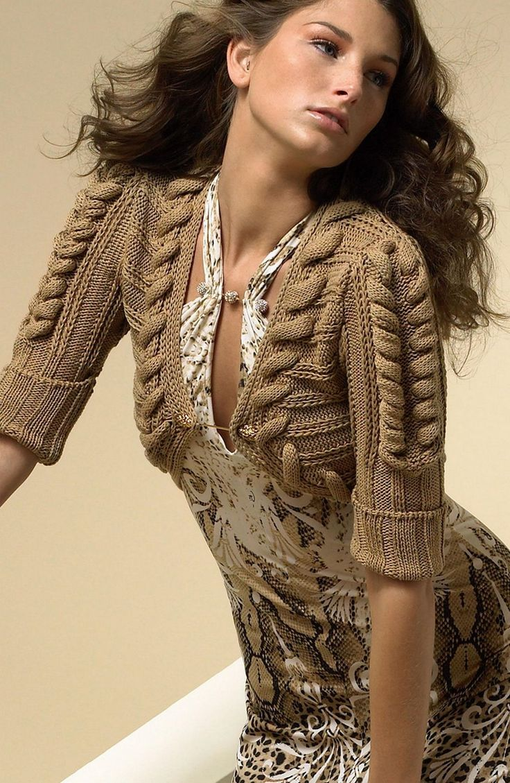 Модели вязания: Болеро с косичками