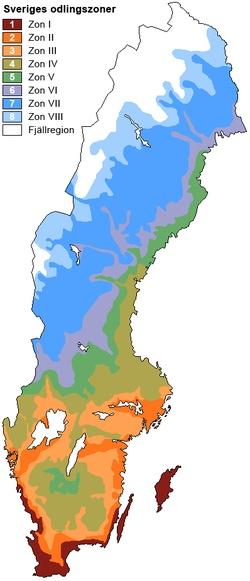 Sveriges odlingszoner, definierade av Riksförbundet Svensk Trädgård