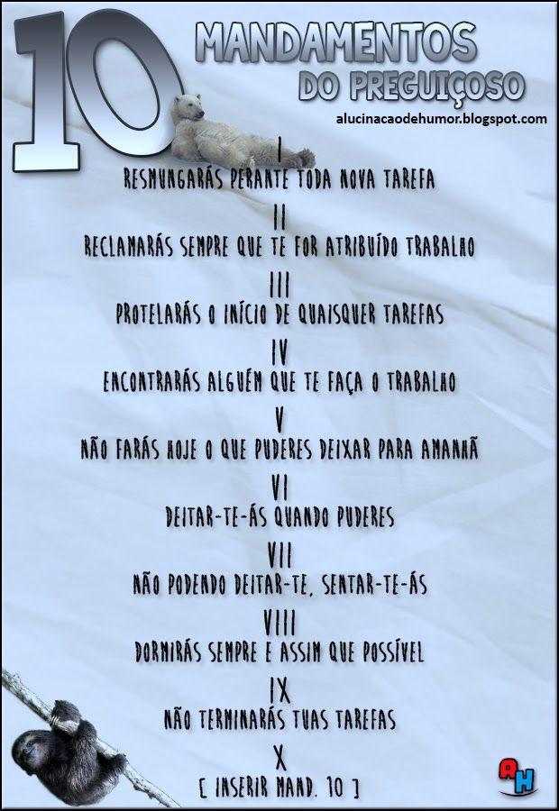 10 MANDAMENTOS DO PREGUIÇOSO