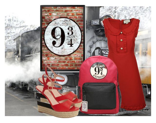 """Platform 9 3/4 inspired look"" by hogwartsinspired on Polyvore featuring Gucci, Warner Bros. and Kate Spade"