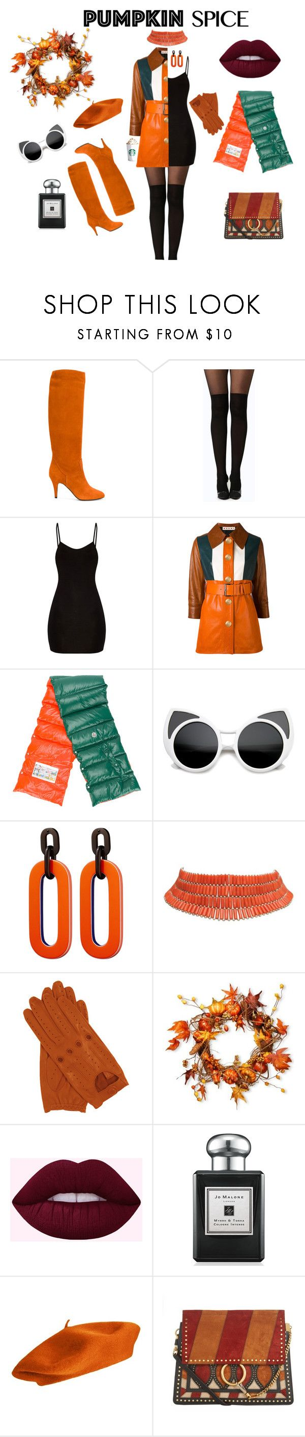 Autumn mood by wildpatchouli on Polyvore featuring Marni, Casadei, Chloé, Moncler, Jo Malone, National Tree Company, outfit, orange and pumpkinspice