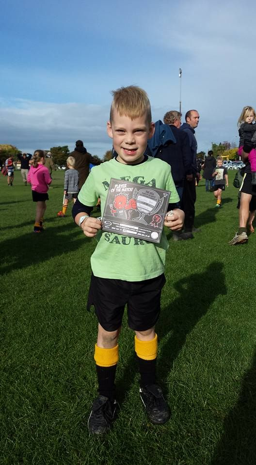 Quintin  with Player of the Match certificate  Saturday morning rugby.