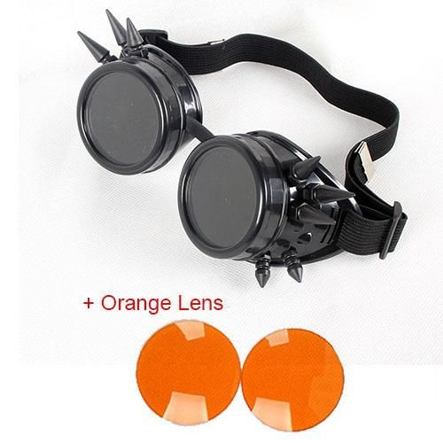 Riveted Steampunk Welding Goggles - Dual Clear/Sunglasses lens