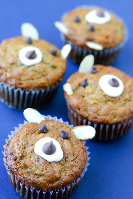 Apple Bear Muffins - cute muffin decoration for healthy muffins