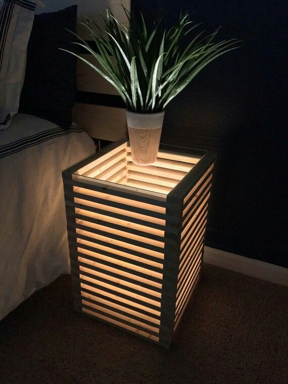 Cool nightstand or side table with dim mood lighting for ambiance, film viewing, etc. ~ home, bedroom, entertainment room, home decor