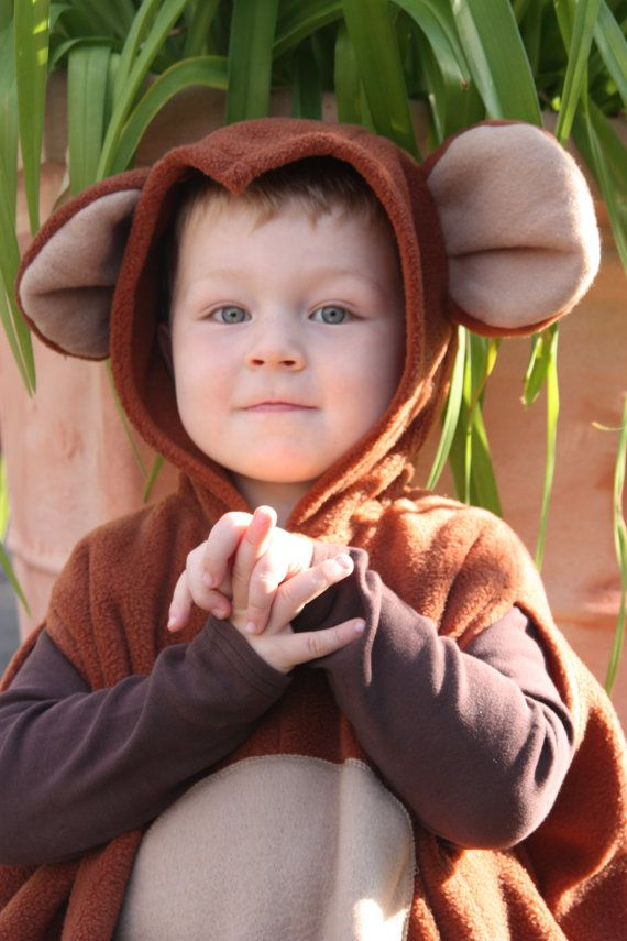 super cuddly fleece cape with hood for children monkey  washable one size    center back length 48 cm - 18,9 inch  wearable from about 86 - 33,9 inch
