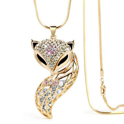 Fox Pendant Necklace Zinc Alloy Animal Snake Chain Long Necklace Rhinestone Necklaces women