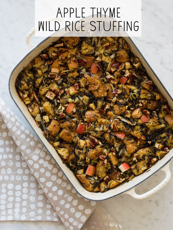 Apple Thyme Wild Rice Thanksgiving Stuffing recipe
