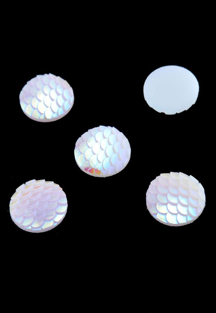 10  cabochons  blanc  matière synthétique,Cabochons en matière synthétique, circulaires décorés avec éclat ± 16mm, ± 3mm