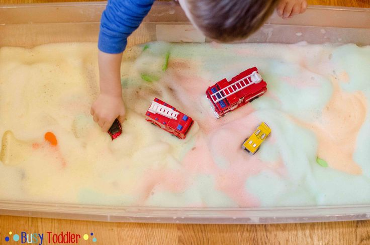 Bubble Foam  - Mix 2 parts water to 1 part bubble bath. ( tear free) FOR rainbow bubble foam use 1/2 cup water + 1/4 cup bubble bath for each small batches - add a little food coloring then whip it with a hand mixer on med-high for one min. Use a big bowl and you'll end up with stiff peak. like whipping cream,