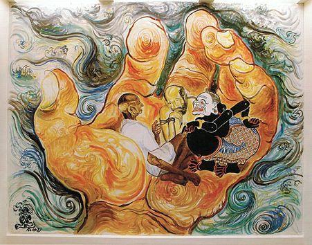 Wisdom of the East, fresco mural in Jefferson Hall, East-West Center, Honolulu, by Affandi