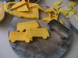 Cut out Squash with Cookie cutters - like These Camping bus cutter.