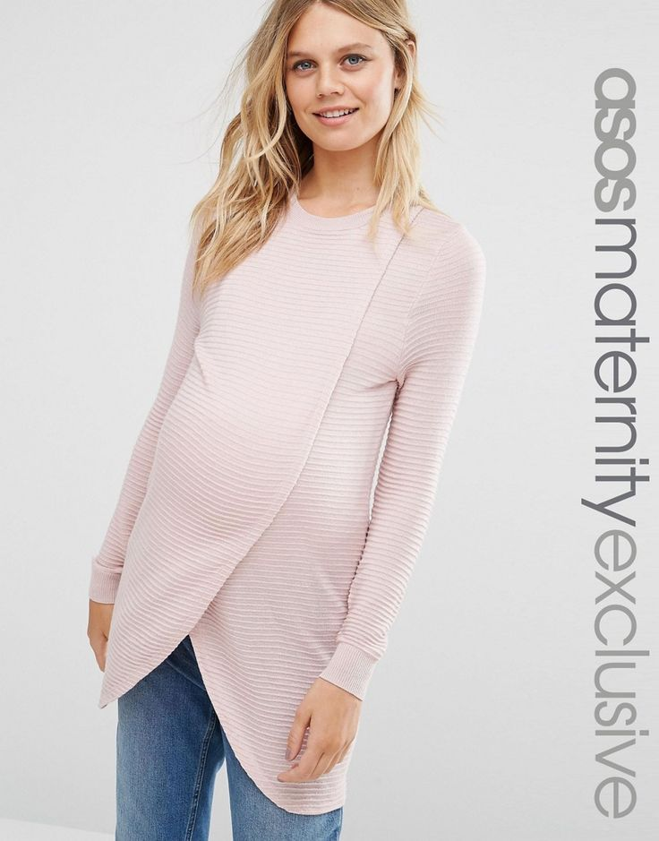 Image 1 of ASOS Maternity NURSING Wrap Over Jumper in Textured Stripe