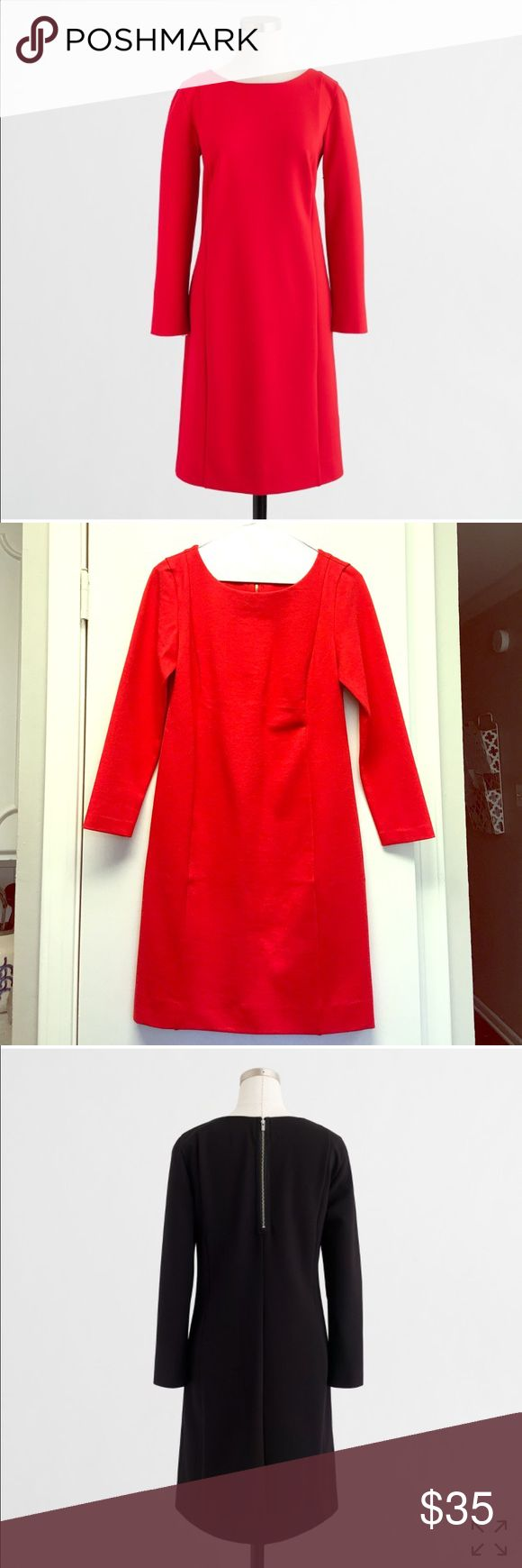 """Jcrew red dress Long-sleeve ponte dress from J. Crew in """"electric red!"""" Such a cute, classic red dress. Just a little big on me. I normally wear an xxs petite and this is a regular xxs. J. Crew Factory Dresses Long Sleeve"""