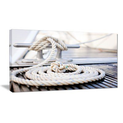 "DesignArt 'White Nautical Mooring Rope' Photographic Print on Wrapped Canvas Size: 16"" H x 32"" W x 1"" D"