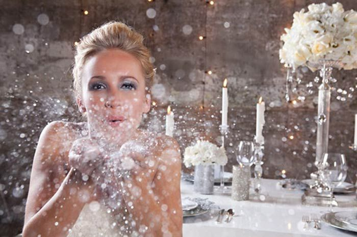 Instead of rice have the guests throw sparkles or fake snow at the bride and groom :)