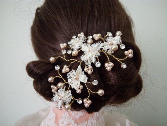 Pearl And Crystal Hair Pins Lace Hair Pin Bridal by DesignByIrenne