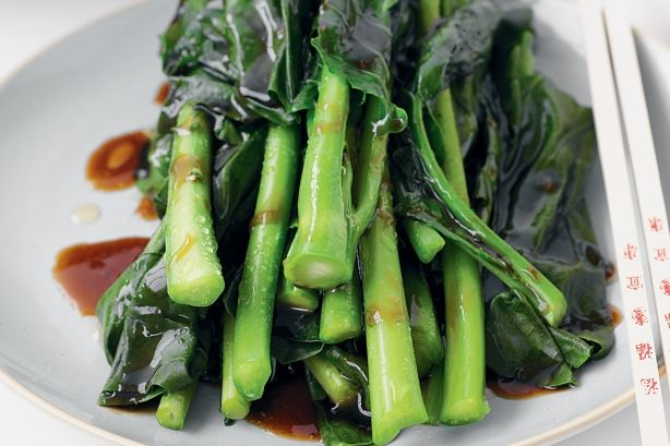 Chinese broccoli with oyster sauce The oyster sauce can be substituted with a mushroom sauce.