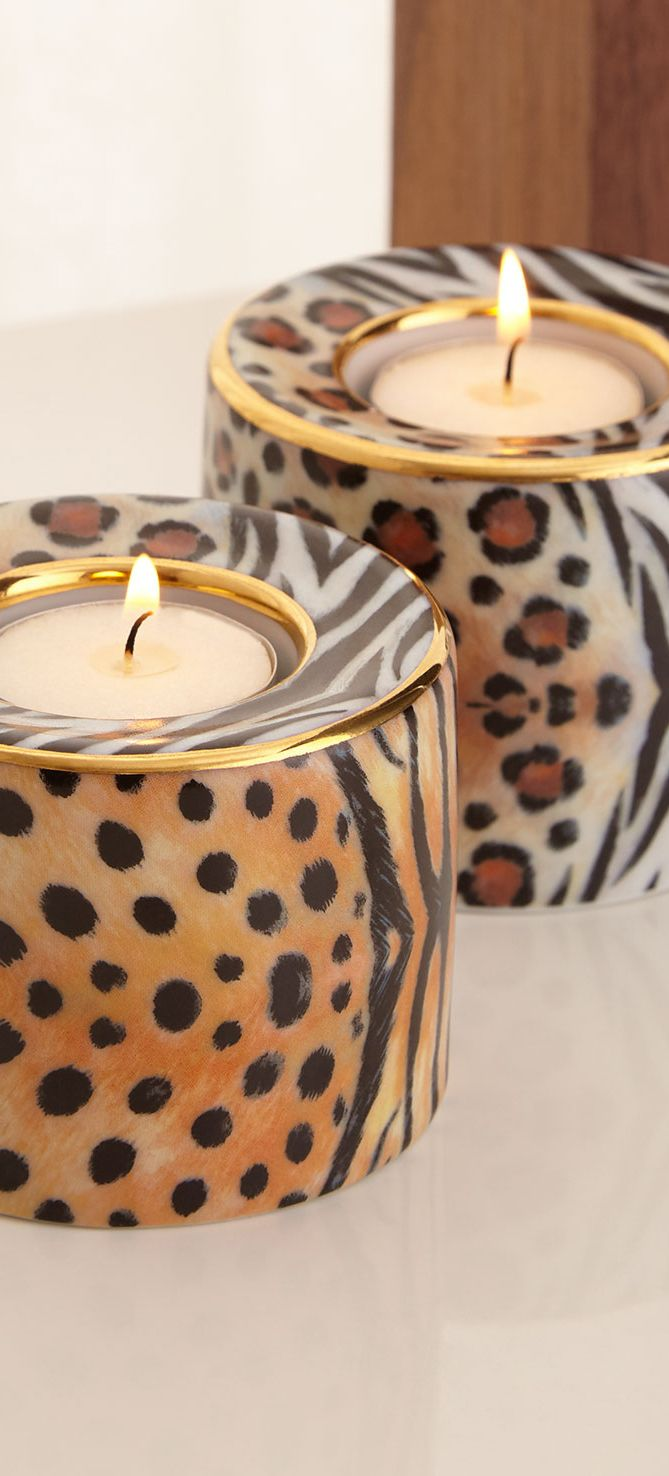 """From the Halcyon Days Magnificent Wildlife Collection. Handcrafted tea light holders. Hand-painted bone china. Set of two; each, 2.5""""Dia. x 5.25""""T. Made in England."""
