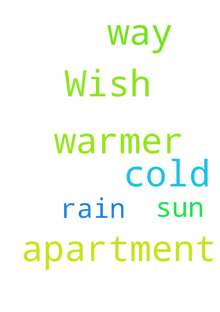 Wish it was warmer out it way to cold in my apartment - Wish it was warmer out it way to cold in my apartment No more rain more sun Posted at: https://prayerrequest.com/t/E6K #pray #prayer #request #prayerrequest
