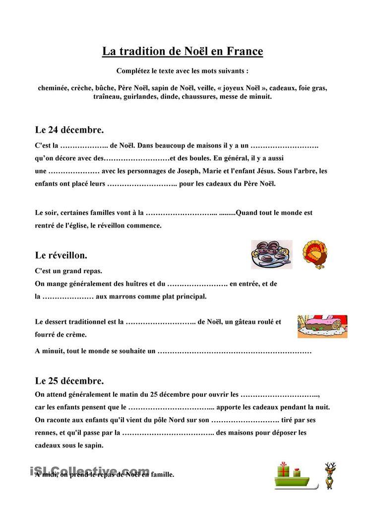 Texte lacunaire sur Noël en France