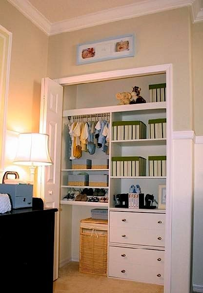 baby nursery ideas for nursery closet, great way to keep things out of reach for a baby or toddler, but perfect for when they get old enough to use by themselves