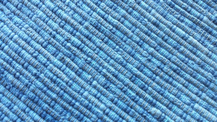 Good Ole County Blue Placemat handwoven loom woven handmade by KrautsRagRugs on Etsy