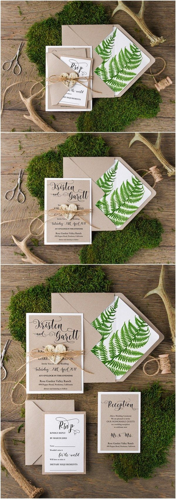 Rustic country botanical green wedding invitations | Deer Pearl Flowers