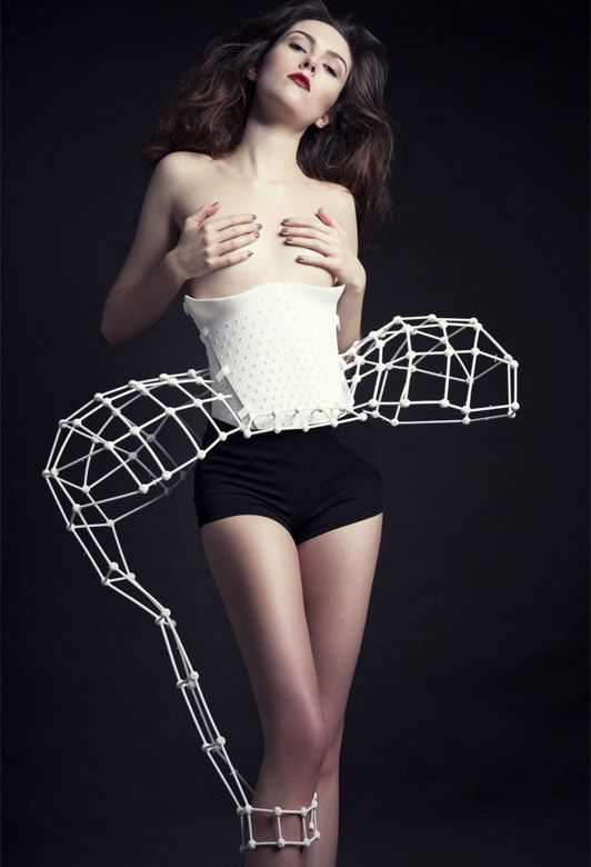 Catherine Wales's chromosome-inspired corset.   'Computer couture: how 3D printing could revolutionise fashion'  http://fashion.telegraph.co.uk/news-features/TMG10198055/Computer-couture-how-3D-printing-could-revolutionise-fashion.html